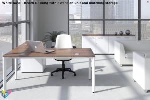 White Base X-Range Executive Desk