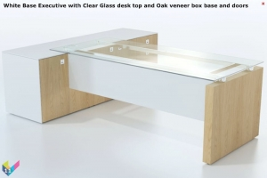 White Base Fulcrum Executive Workstation with Glass Top