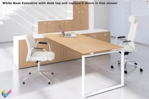White Base Ambus Executive Desk