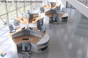 White Base Ambus 120 Degree Desks