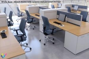 White Base Ambus Bench Desks