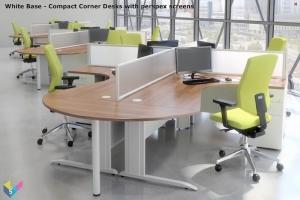 White Base Ambus Corner Desks