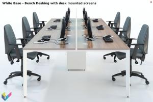 White Base X-Range Bench Desking