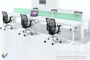 Ambus Bench Desk with White Desk Tops and Perspex Screens