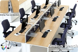 Ambus Bench Desk with Natural Oak Desk Tops and Fabric Screens