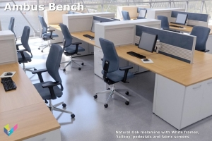 Ambus BenchAmbus Bench Desk with Natural Oak Desk Tops, with Personal Storage and Fabric Screens