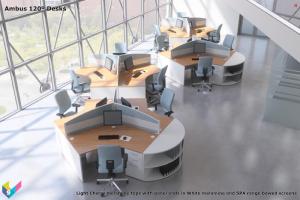 Ambus 120º Desks, Ambus 120 Degree Desks