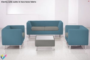 Clarity Reception Seating in two-tone fabric