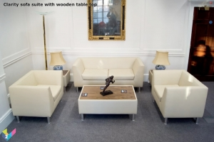 Clarity Reception Seating in Ivory leather