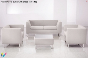 Clarity Reception Seating in single tone fabric