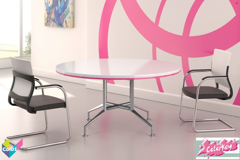 Tula Colorkey Circular Funky White Meeting Table Pink