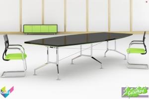 Tula Colorkey, Barrel Colorkey Funky Black Meeting Table, Green