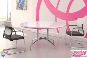 Tula Colorkey - Circular Colorkey Funky White Meeting Table, Pink