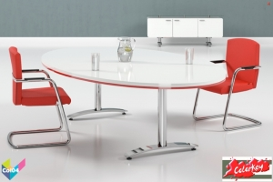 Tula Colorkey, Oval Colorkey Funky Meeting White Table, Red