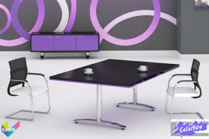 Tula Colorkey, Rectangular Colorkey Funky Black Meeting Table