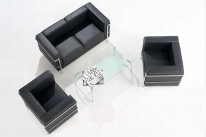 Cube Black Leather Reception Seating Group