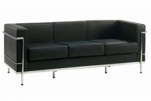 Cube Black Leather Reception Three-Seater Sofa