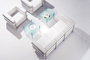 Cube White Leather Reception Sofa Group