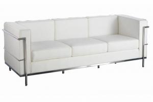 Cube White Leather Reception Three Seater Sofa