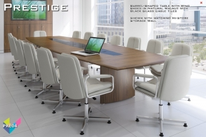 Prestige Boardroom Tables 04 - Barrel-Shaped Boardroom Table