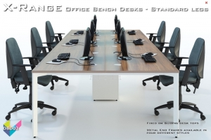 Office Bench Desks 02 - X-Range White Bench Desks