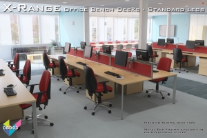 Office Bench Desks 03 - X-Range White Bench Desks