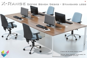 Office Bench Desks 05 - X-Range White Bench Desks