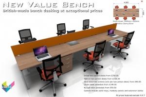Value Bench 04 - Budget Bench Desking - Hawk Bench in Portofino Cherry & Silver