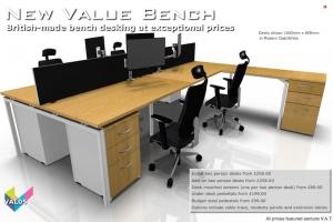 Value Bench 05 - Budget Bench Desking - Hawk Bench in Modern Oak & White