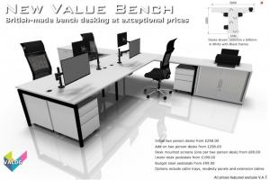 Value Bench 06 - Budget Bench Desking - Hawk Bench in White & Black