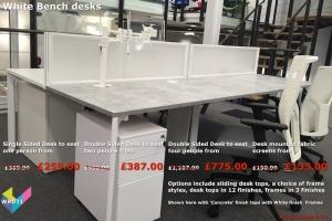 White Bench Desks - X-Range White Bench Desks