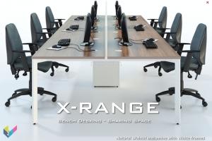 X-Range Bench Desk for six people