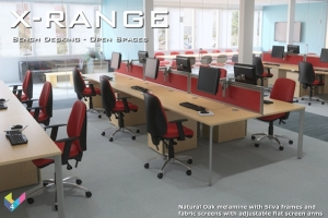 X-Range Bench Desk with Screens and monitors