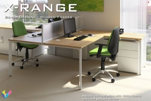 X-Range Back to Back Bench Desk with Screen