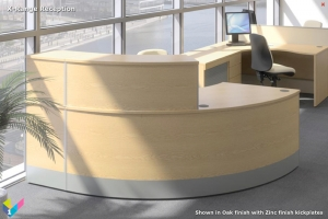 X-Range Curved Reception Desk in Oak