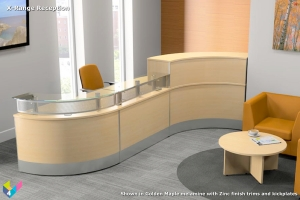 X-Range Curved Reception Desk in Golden Maple
