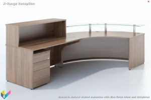 X-Range Curved Reception Desk in Natural Walnut