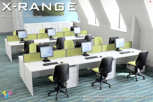 X-Range Rectangular Desks with Panel Ends in White with Fabric Screens