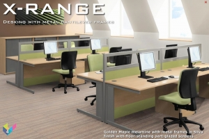 X-Range Rectangular Deks with Metal Frames and Fabric Screens