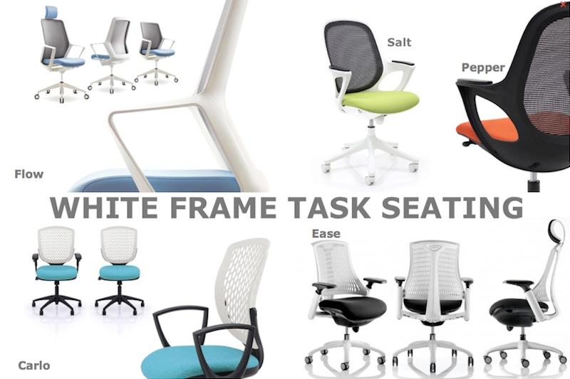 White frame task seating - White Office furniture